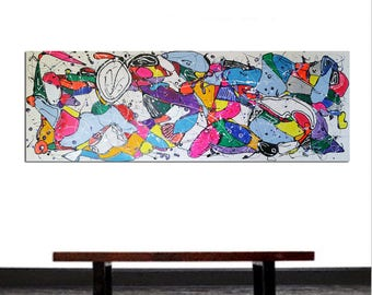 """67x23,5inches(170x60cm),Large neon modern painting art Abstract canvas hotel urban painting """"Unusual thoughts 5"""" by Veronica Vilsan"""