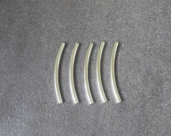 5pcs,925 Sterling Silver,Curved Round Tube Beads,Spacer,Wholesale Price,47mm*4mm,28mm*6.3mm