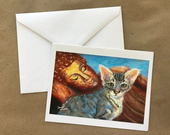 Reclining Buddha with Tabby Cat Note Card