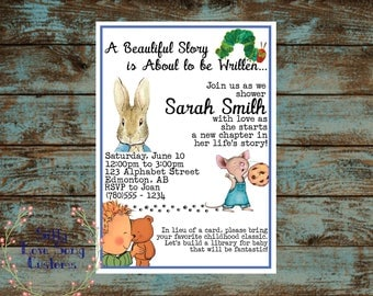 Reading / Story Book Themed Printable Baby Shower Invitation! Baby girl or Boy shower - customize your text - DIGITAL FILES