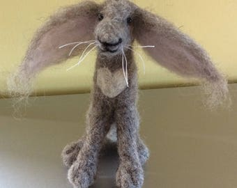 Heart Felt Hare ready made needle felted Grey Hare with Heart Valentine Gift Love