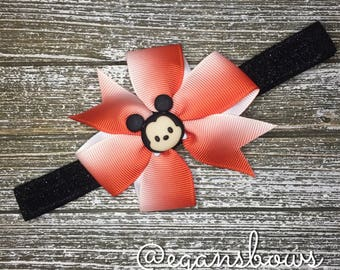 Mickey Mouse bow on adjustable headband