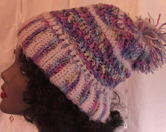 Soft grey and multi-colored hat