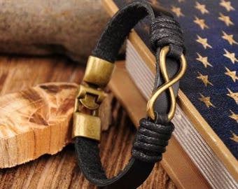 Black Leather Bracelet, Infinity Bracelet, Mens Infinity Bracelet, Mens Gift, Mens Jewelry, Gift For Him CS-5
