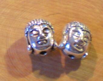 SET of 2 beautiful Buddha heads silver plated