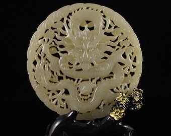 N3943 Openwork Chinese Qing Dy Hetian Jade Dragon Pendant