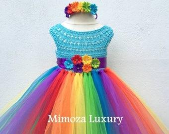 SALE My Little Pony Birthday Tutu Dress, Rainbow tutu dress, my little pony tutu dress, crochet top tulle dress, hand knit top tutu hallowee