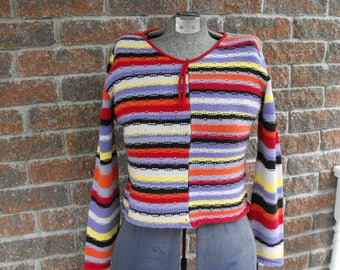 Sweater, Vintage Sweater, Cotton Sweater, 100% Cotton,  Telluride Clothing Company ,Colorful Sweater, Made In Hong Kong, Winter Sweater