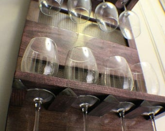 ON SALE You Get to Pick The Stain Color, Wall Mounted Glass Rack with Shelves and Decorative Mesh, Wine and Liquor Shelf
