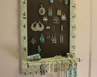 ON SALE Gorgeous Rustic Sage and Dark Bronze Ready To Ship Wall Mounted Jewelry Organizer, Jewelry Rack Jewelry Display Necklace