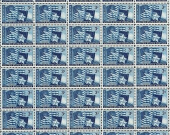 1945 - (50) TEXAS - #938 Full Mint, Never Hinged, Sheet of 50 Vintage Unused U.S. Postage Stamps - Post Office Fresh with Free Shipping