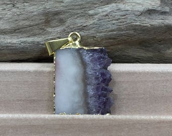 Amethyst Slice, Small Amethyst Slice Pendant, Amethyst Druzy Pendant, 24K Gold, Amethyst Pendant, Only One of Each Available, TINY, PG0446AA