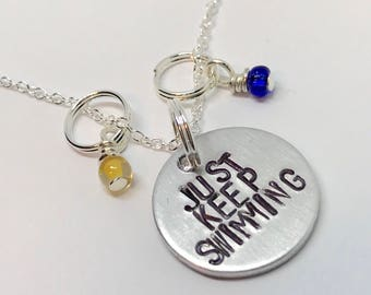 "Finding Dory Inspired Hand-Stamped Necklace - ""Just Keep Swimming"""