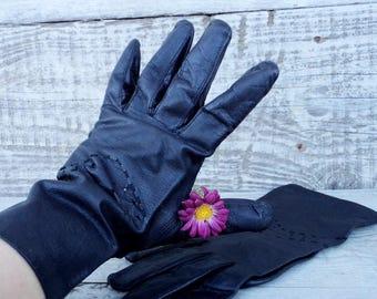Vintage Leather Gloves, Genuine Leather Gloves, Black Leather Gloves, Women's Leather Gloves, Winter Gloves for Her