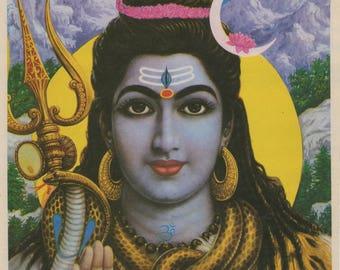 Lord Shiva - Vintage Indian Hindu Devotional print