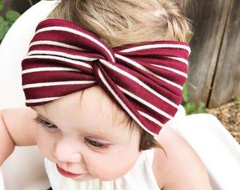 Maroon Stripe : baby turban, turbans for tots, Burgundy baby headband
