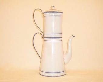 Antique French Enamel Coffee Pot – Blue and white enamelware Very Old 1800s Befor 1870 Kitchen Decor
