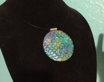 Mermaid Scales - Round Statement Pendent Necklace