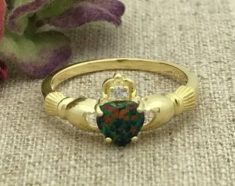 Personalized Sterling Silver Irish Claddagh Ring, Promise Ring for Her, Purity Ring, Friendship Ring, Custom Promise Ring Lab Opal Ring Gold