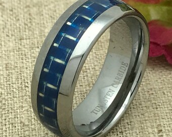 8mm Tungsten Wedding Ring. Personalized Custom Engraved Tungsten Ring, Carbon Fiber Inlay Tungsten Wedding Ring Band FREE ENGRAVING