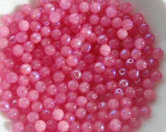set of 20 pink iridescent round beads 4mm