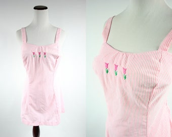 1960's Pink Pin-stripe Cotton Tulip One-Piece Bathing Suit