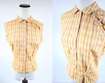1950's Cotton Yellow & Orange Checkered Button-up Tank