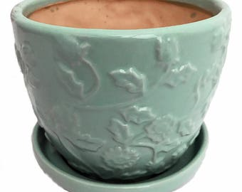 """Mint Green Floral Planter with Attached Saucer - 6"""" x 5"""""""