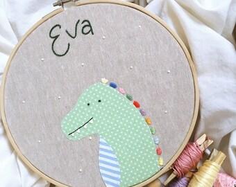 Custom Dinosaur Embroidery Hoop // Dinosaur // Contemporary Embroidery