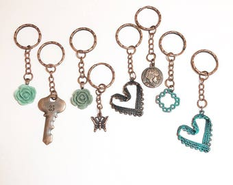 Keychains Set of 8 Gifts Under 15 dollars Antique Copper Key Chain Keychain