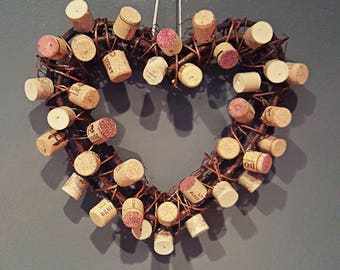 """Heart Cork Wreath.. Perfect Gift For All The Wine Lovers! Handmade 10"""" Wood Twig Wreath With Wine Corks.."""