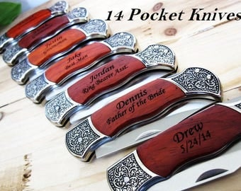 Set of 14 Personalized Groomsmen Knife // 14 Groomsmen Gifts // Personalized Pocket Knives