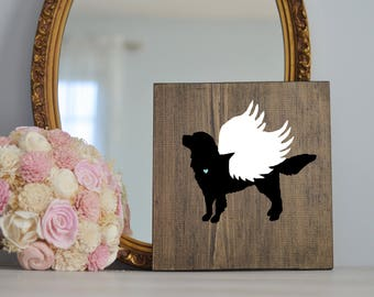 Golden Retriever Angel Wing Silhouette, Remembrance Sign, Memorial, Loss of Dog, Golden Retriever Art, Golden Retriever Portraits