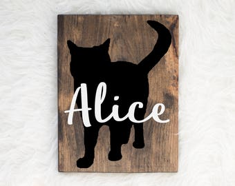 Hand Painted Cat Silhouette on Stained Wood with Name Overlay, Dog Decor, Painting, Gift for Dog People, New Puppy Gift