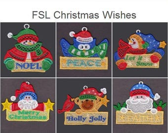 FSL Christmas Wishes Free Standing Lace Machine Embroidery Designs Instant Download 4x4 hoop 10 designs APE2633