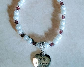 With God All Things Are Possible Beaded Charm Bracelet