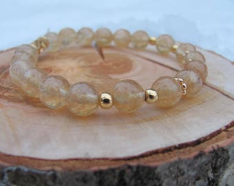 Genuine Citrine Bracelet/Elastic bracelet