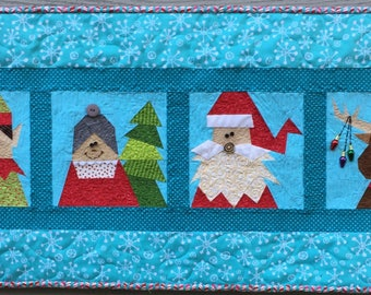 Must Be Santa Table Runner and Pillow Paper Pieced Pattern in PDF