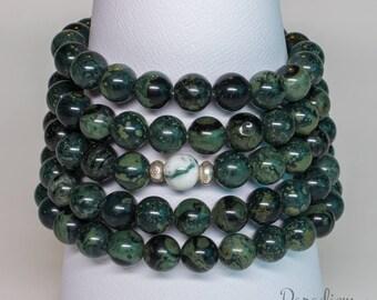 Inner Peace & Self-Esteem - Rainforest Jasper, Tree Agate and Hill Tribe Silver 108 Bead Stretch Wrist Yoga Mala Bracelet