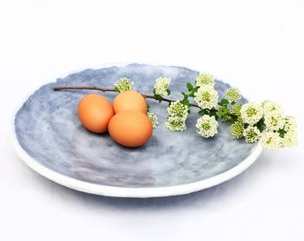 extra large platter ~ modern gray stoneware platter ~ ceramic serving dish or catch-all dish ~ wide ceramic platter ~ light gray glaze