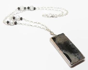 Black and White Agate Necklace, Boho Geode Slice Pendant,  Black and White Geode Necklace,  Bohemian Style Gemstone Necklace