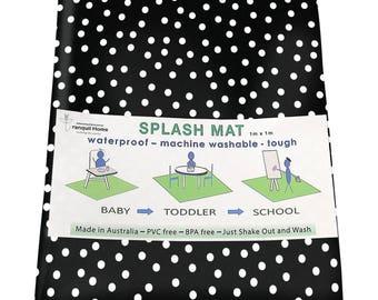 Highchair Mat / Splash Mat/ Craft Mat Black and White Polka Dots Monochrome laminated cotton