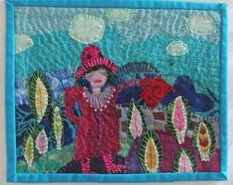 "In The Garden  8""x10""  fabric collage"