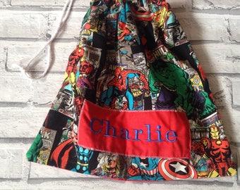 Childrens Drawstring Bag PE Bag kids bag PE BAG personalised Bags