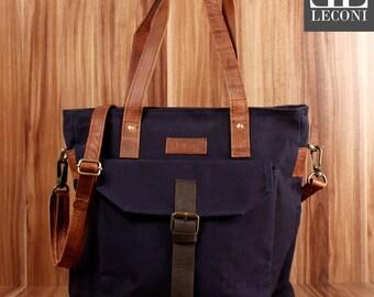 LECONI Shopper Shoulder Bag bag tote bag Leather Canvas Navy LE0045-C