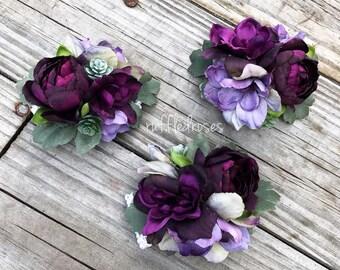 Boho Corsage, Plum and Iris Corsage, Succulent Corsage, Wildflower Corsage, Mothers Corsage