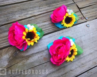 Sunflower Corsage, Wrist Corsage, Pin Corsage, Hot Pink Corsage, Pink and Turquoise Corsage