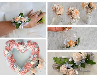 Peach wedding set, bridal set, bridesmaid gift, flower girl gift, mother of the groom, groom boutonnieres, wrist corsage, gift for mom