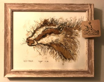 Framed Wild Badger Original Illustration