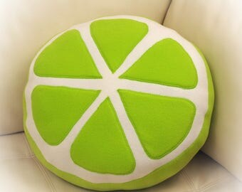 Lime Pillow, Lime Slice Pillow, Food Pillow, Fruit Pillow, Toy Pillow, 3D Pillow, Beach House Decor